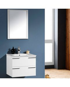 CENTRA 600MM WHITE WALL MOUNT BATHROOM VANITY UNIT AND FREE FAUCET MDF