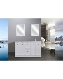 VIENNA 1400 VANITY WITH DOUBLE POLY RESIN BLEND SINK 1400X500X850MM HIGH GLOSS WHITE NEW