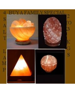 HIMALAYAN ROCK CRYSTAL SALT LAMP WITH UNIQUE IONIZER (SET OF 4 SHAPES)