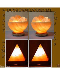 Himalayan SALT LAMP Rock Crystal 4pcs Unique Ionizer